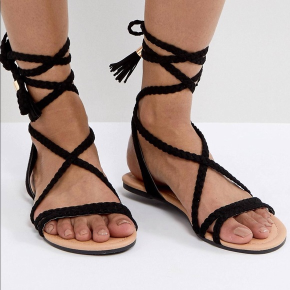 e4a36f9e758 ASOS Shoes - ASOS Fayla black gladiator sandals 9.5 uk 7
